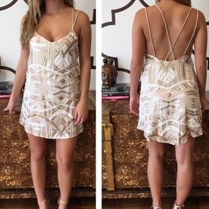 Show me Your Mumu gold and white sequin dress